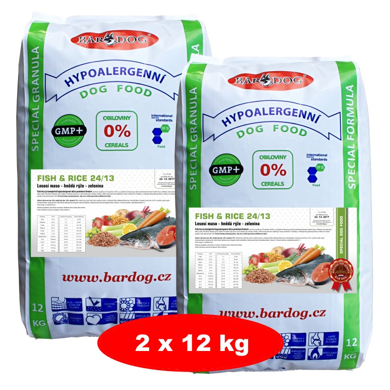 BARDOG Fish Rice 24/13 Ultra Prémium 2 x 12 kg