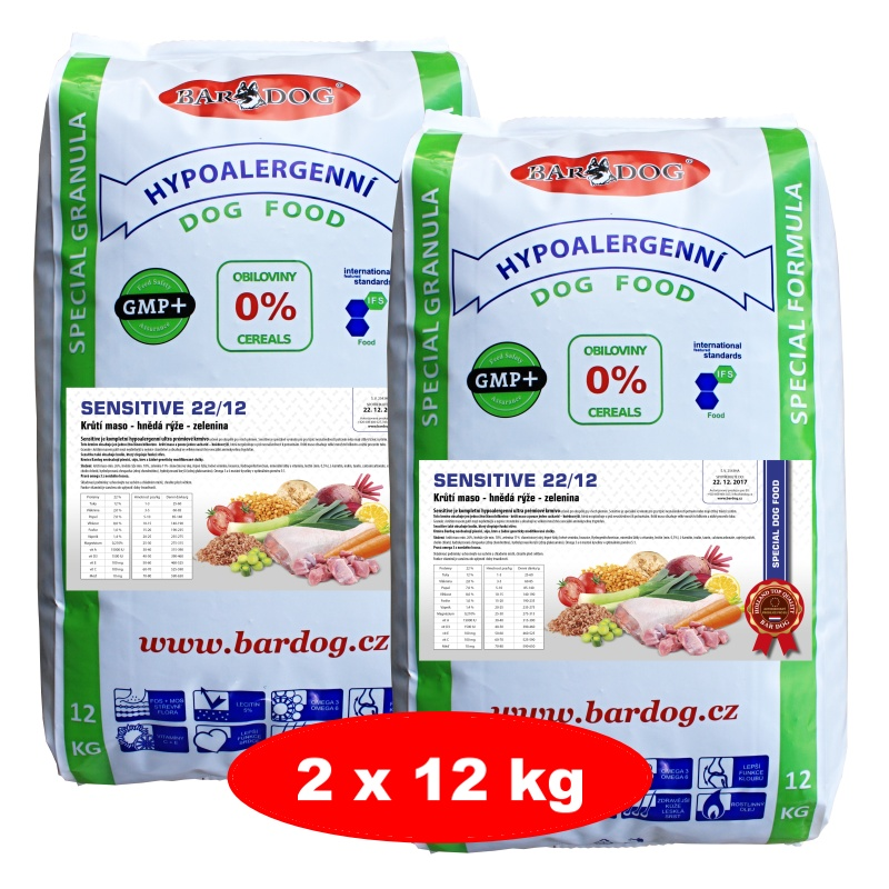 BARDOG Sensitive 22/12 Ultra prémium 2 x 12 kg