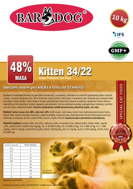 Bardog KITTEN Cat 34/22 Super Prémium 10 kg