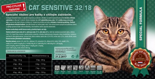 Bardog SENSITIVE Cat 32/18 Super premium 1 kg