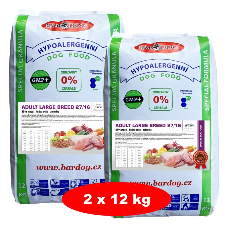 BARDOG Adult Large Breed 27/16 Ultra Prémium 2 x12 kg