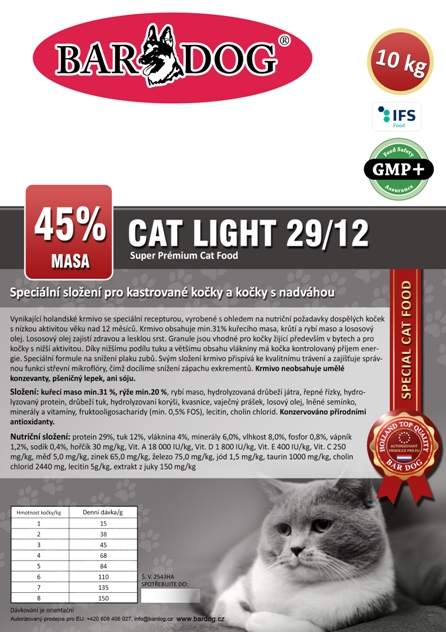 Bardog LIGHT Cat 29/12 Super premium 10 kg