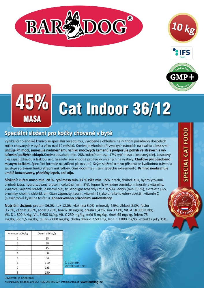 Bardog INDOOR Cat 36/12 Super premium 10 kg