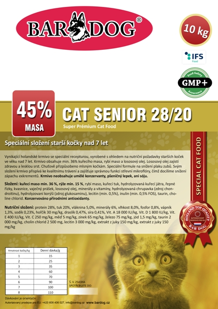 Bardog SENIOR Cat 28/20 Super prémium 10 kg