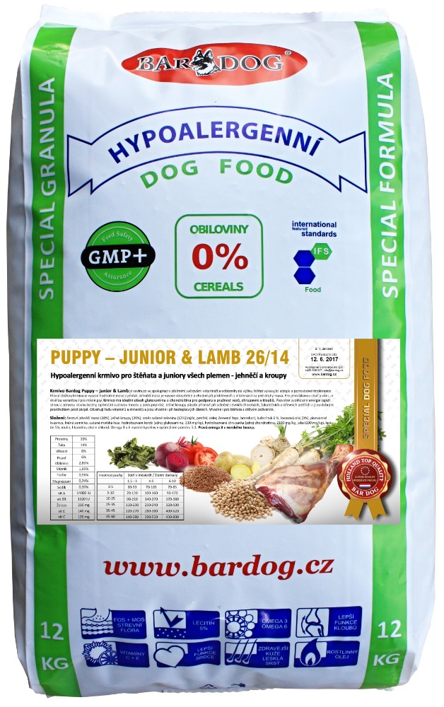 BARDOG Puppy - Junior Lamb 12 kg