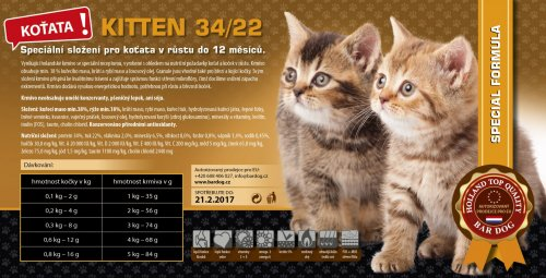 Bardog KITTEN Cat 34/22 Super Prémium 1 kg