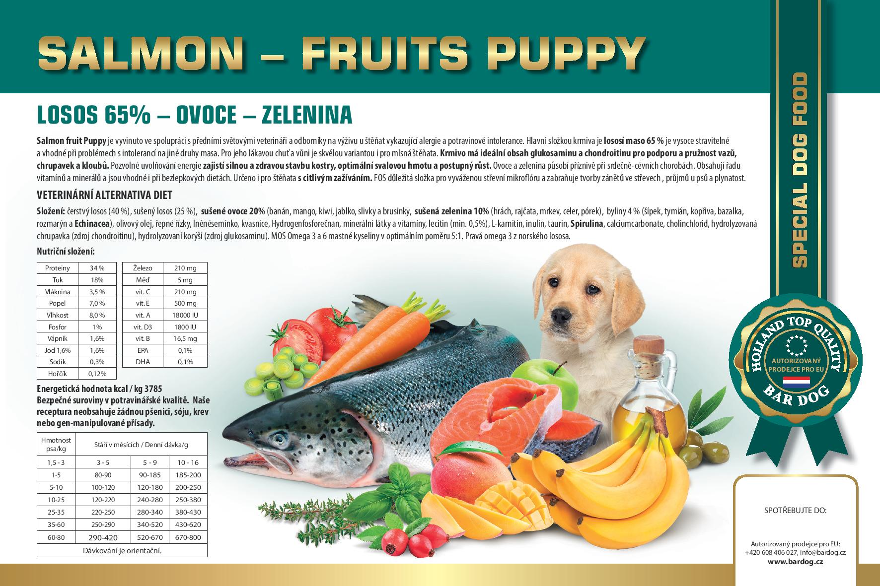 BARDOG SALMON  FRUIT PUPPY 4 kg