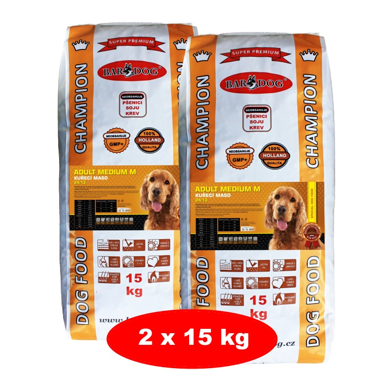 BARDOG ADULT Medium kuřecí maso 2 x 15 kg